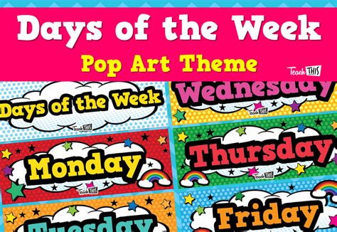 days of the week pop printable classroom displays