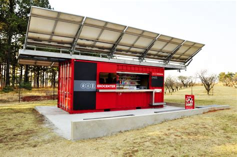 designboom kiosk coca cola ekocenter water purifying shipping container unit