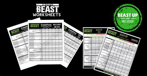 beast workout sheet beast workout sheets zillafitness