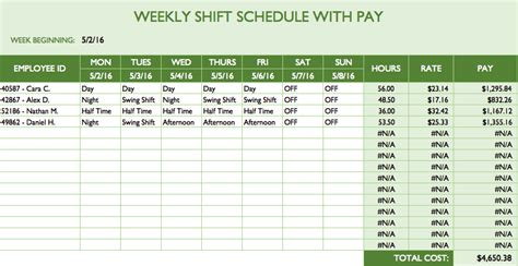 Free Work Schedule Templates For Word And Excel Shift Roster Template