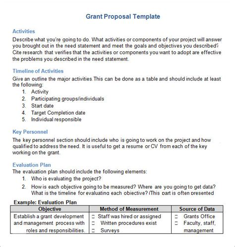 Grant Proposal Template 9 Download Documents In Pdf Word Grant Template Word