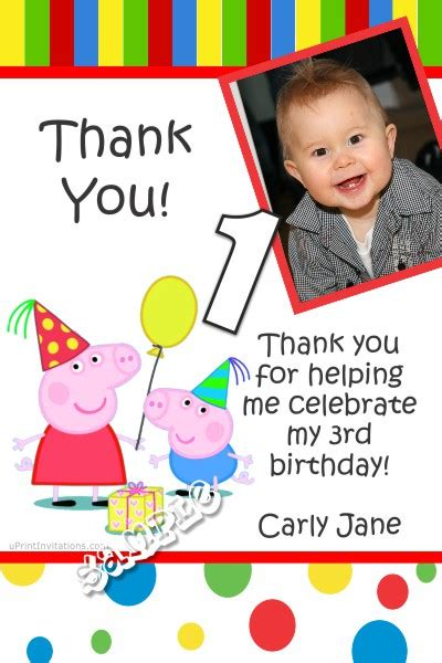 peppa pig thank you card template peppa pig thank you cards all colors