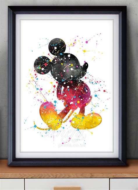 painting decor disney mickey mouse watercolor art poster print wall decor