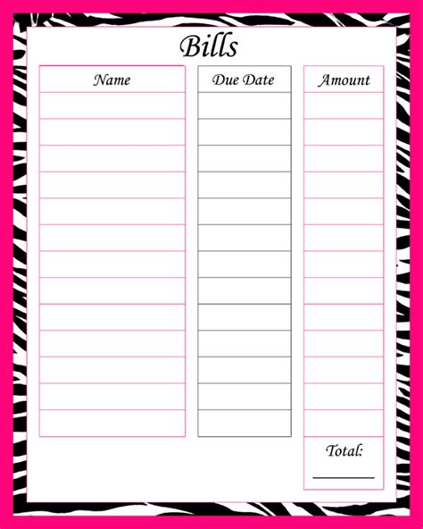 6 best images of printable blank paying bills organizer