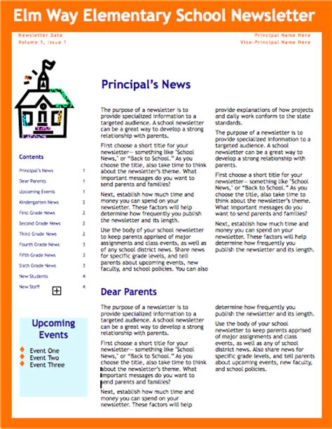 newsletter template for pages orange school newsletter template for pages free iwork