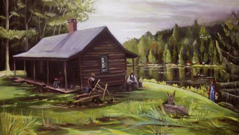Log Cabin Paintings by Log Cabin By The Lake By Nancy Griswold