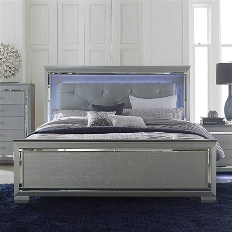 Bedroom Furniture Silver Allura Panel Bedroom Set W Lighting Silver Bedroom Sets Bedroom Furniture Bedroom
