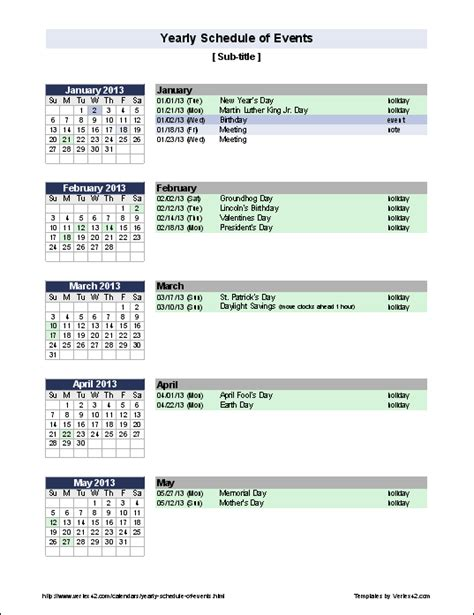 events schedule template excel templates
