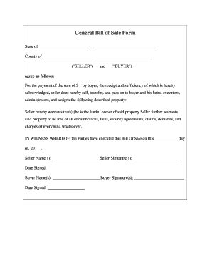 Bill Of Sale Form Templates Fillable Printable Sles For Pdf Word Pdffiller General Bill Of Sale Template