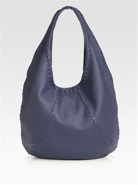 hobo leather bags bottega veneta cervo large leather hobo bag in blue navy lyst