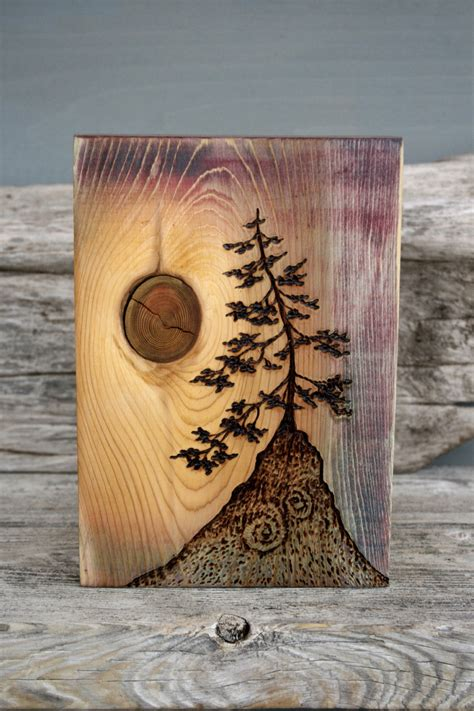 ancient tree art block woodburning