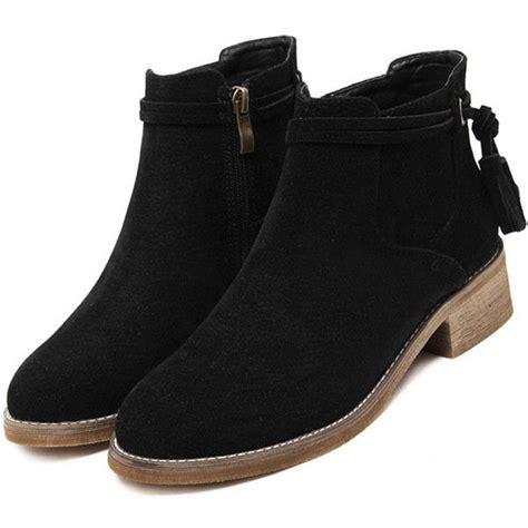 Bm Boots Us 39 43 shein sheinside black faux suede distressed tassel cork heel ankle 145 brl liked on