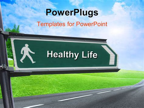 powerpoint templates free download healthy lifestyle powerpoint template signpost with keyword healthy life