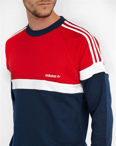 Hoodie Huk Redmerch adidas blue white tricolour raglan sweatshirt in blue for lyst