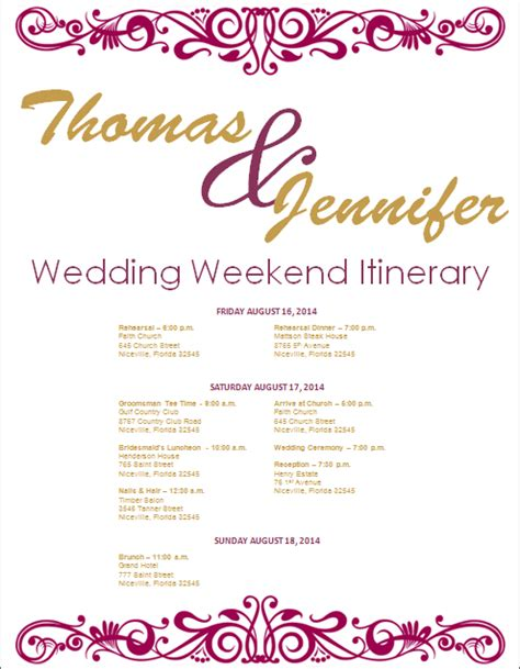 bridal itinerary template weekend itinerary template calendar template 2016