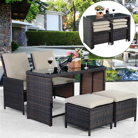 New 5pcs Brown Cushioned Ottoman Rattan Patio Set Outdoor Outdoor Patio Furniture Set