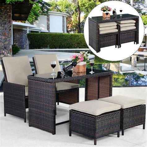 pcs brown cushioned ottoman rattan patio set outdoor furniture garden ebay