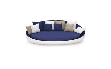 oval shaped couch oyster white lacquered blue fabric upholstered outdoor