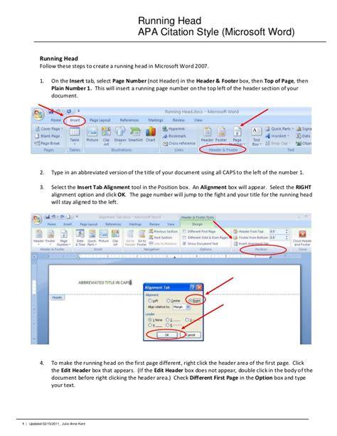 running head apa citation style microsoft word