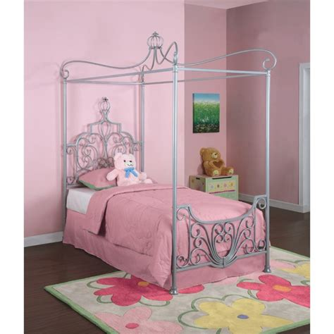 princess castle twin size metal loft bed with tent and