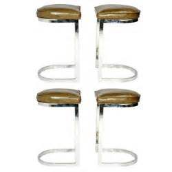 chrome and leather bar stools set of four chrome and leather cantilever bar stools at 1stdibs