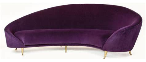 eggplant couch arc sofa eggplant purple midcentury sofas