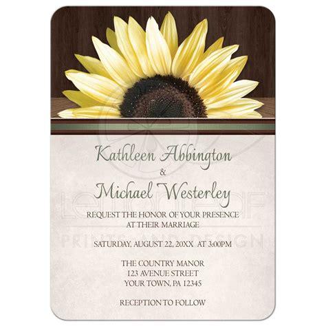 wedding invitations country sunflower wood rustic
