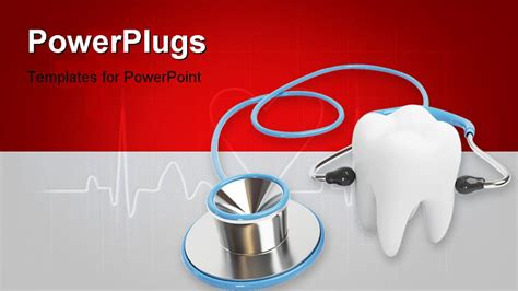 templates powerpoint dentistry 3d blue stethoscope isolated with a tooth on white
