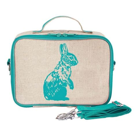 Linen Lunch Bag insulated lunch box aqua bunny linen by soyoung biome