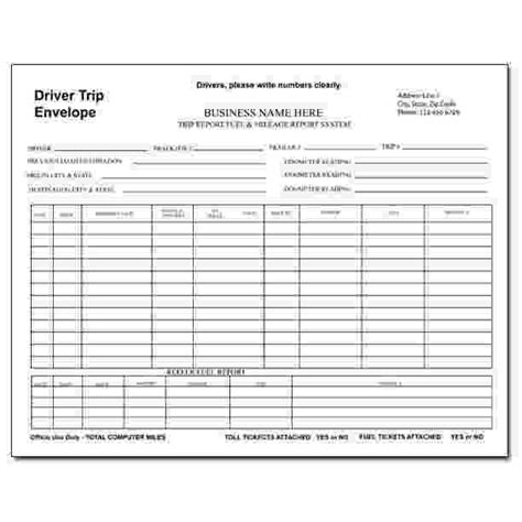truck drivers trip sheet template trucking company forms and envelopes custom printing