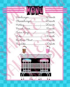 50s diner menu template 1950 s birthday menu 50 s sock hop by