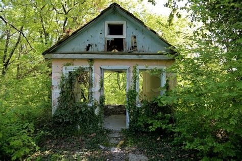 New Farmhouse Plans An Old Abandoned House Overgrown With Stock Photo