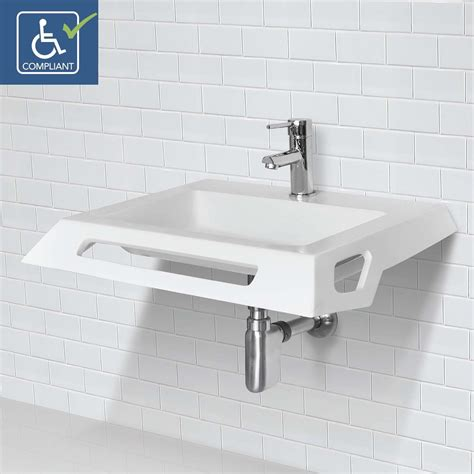 Ada Bathroom Sinks by Decolav Lexine 1833 Ssa Solid Surface Ada Compliant Wall