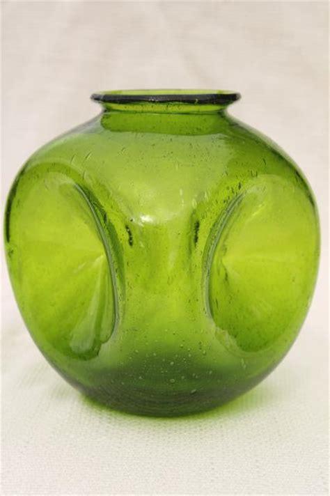 Kitchen Bar Furniture Vintage Hand Blown Pinch Glass Bottle Vase Small Weed Pot