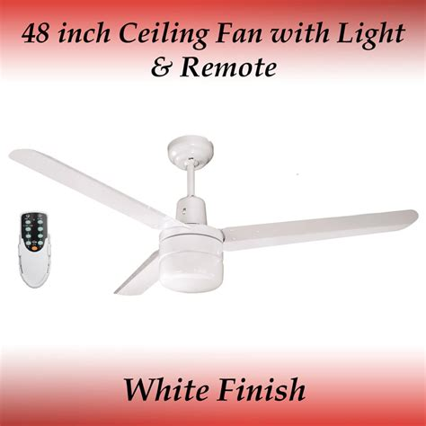 48 Inch Ceiling Fan With Light Sparky 48 Inch 3 Blade White Aluminum Ceiling Fan With Light And Remote Ebay