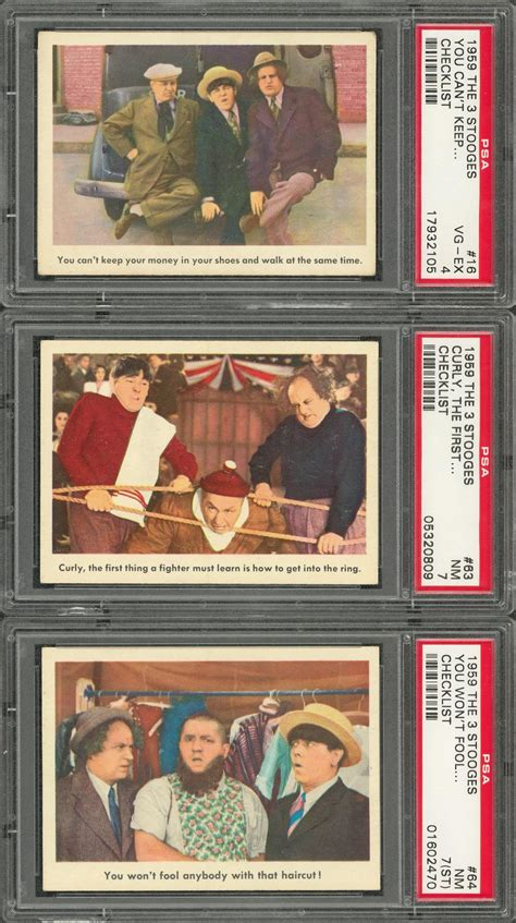 1959 fleer three stooges curly i tell you it is not a dog lot detail 1959 fleer quot three stooges quot checklist cards