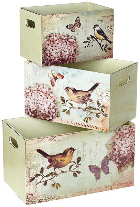 Decoupage Storage Boxes - set of 3 bird design decorative storage boxes con