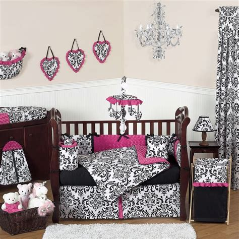 pink and black crib bedding black white and pink crib bedding black and white damask
