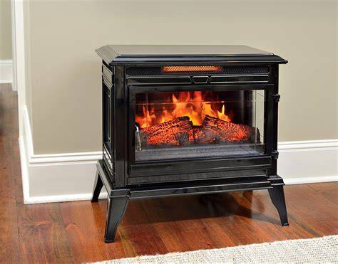 Remote Electric Fireplace by Comfort Smart Jackson Black Infrared Electric Fireplace