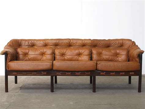 Camel Colored Sectional Sofa Tufted Leather Camel Colored Three Seat Arne Norell Sofa