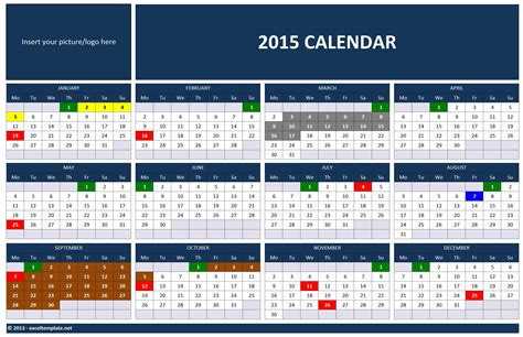 Excel Calendar Template 2015 by Kalander 2015 New Calendar Template Site