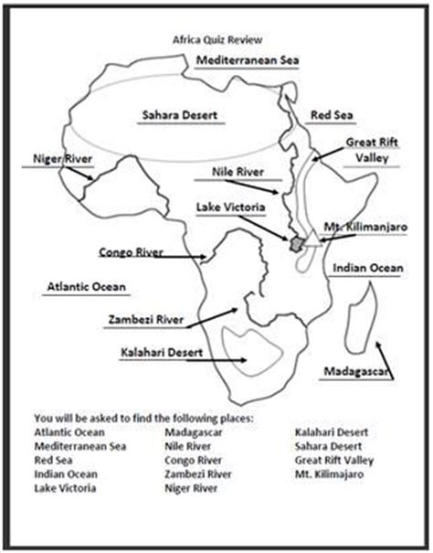 africa map quiz printout zoomschool the world s catalog of ideas