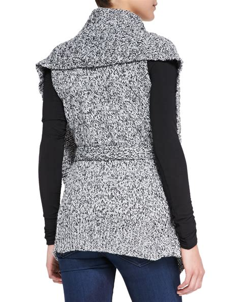Blank Wraparound Cable Knit Sweater Vest In Gray Lyst