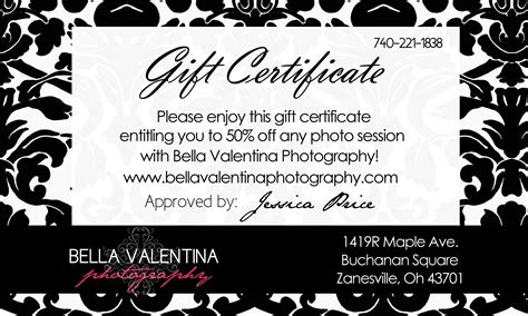 photography gift certificate template free valentina photography photographer card template sale
