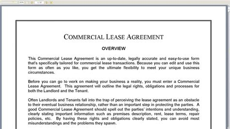warehouse lease agreement template commercial lease agreement