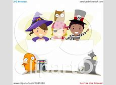 Clipart Halloween Stick Kids Over A Blank Sign - Royalty ... About:blank Free Halloween Clipart