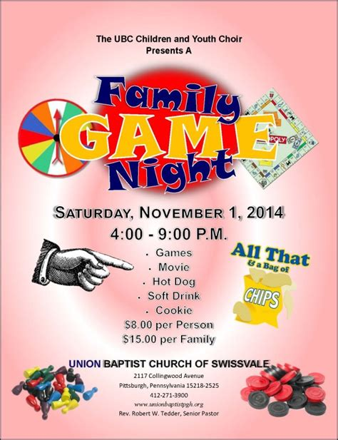 church game night flyer images