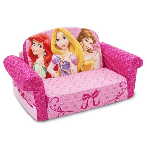flip open sofa with slumber disney princess flip out sofa with slumber bag