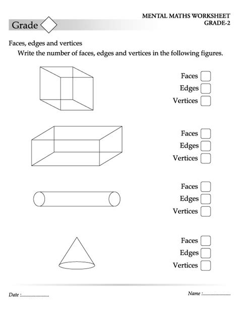 Printable Math Worksheets Faces Edges And Vertices | worksheets faces edges vertices worksheet opossumsoft