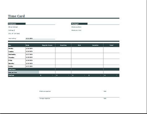Formsfroms Daily Time Card Template by Employee Daily Time Card Format Word Excel Templates